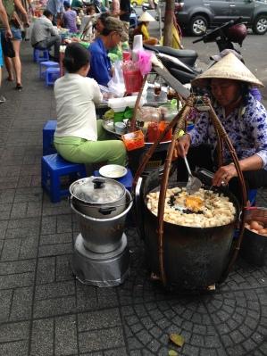 Local Vietnamese food found on the sidewalk.