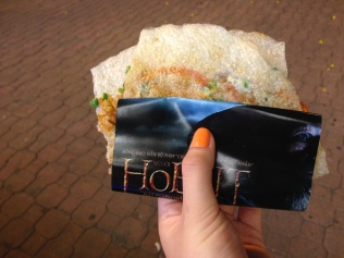Street dish wrapped in an advertisement for The Hobbit.