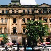 The old architecture of Yangon's government buildings, passed down by the British colonial rule